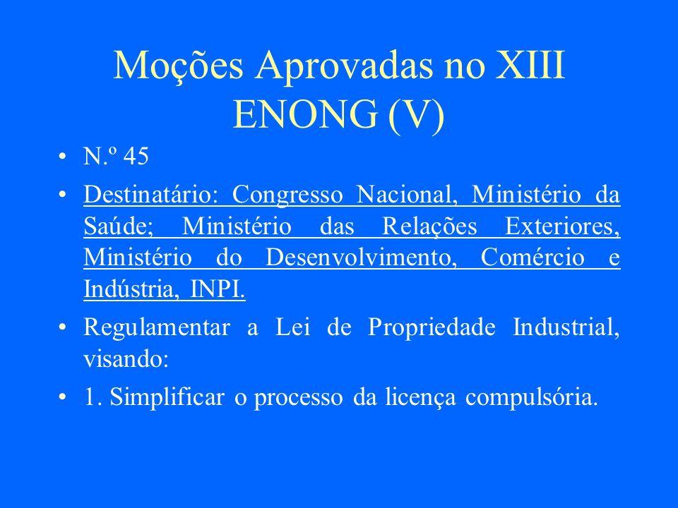Moções Aprovadas no XIII ENONG (V)