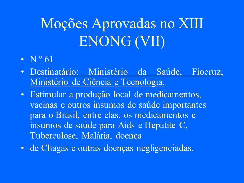 Moções Aprovadas no XIII ENONG (VII)