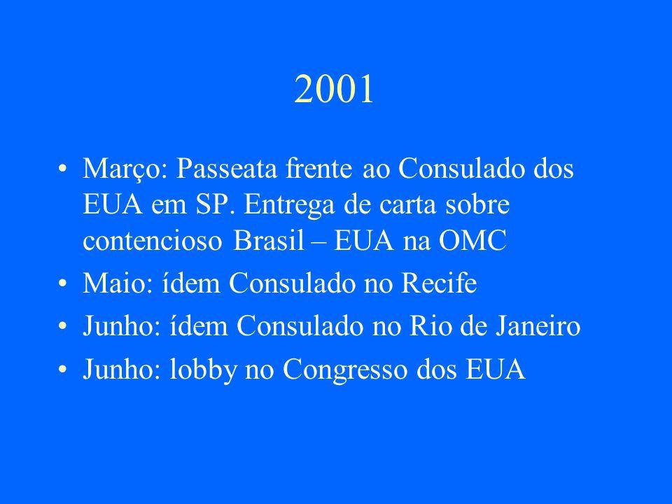 2001 Março: Passeata frente ao Consulado dos EUA em SP. Entrega de carta sobre contencioso Brasil – EUA na OMC.