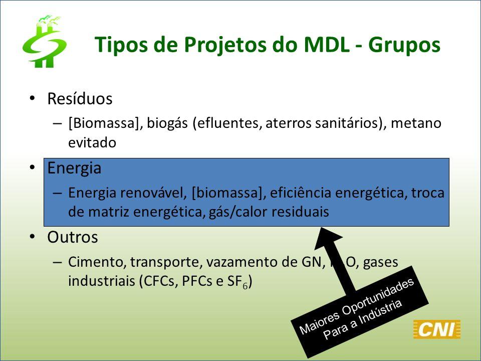 Tipos de Projetos do MDL - Grupos