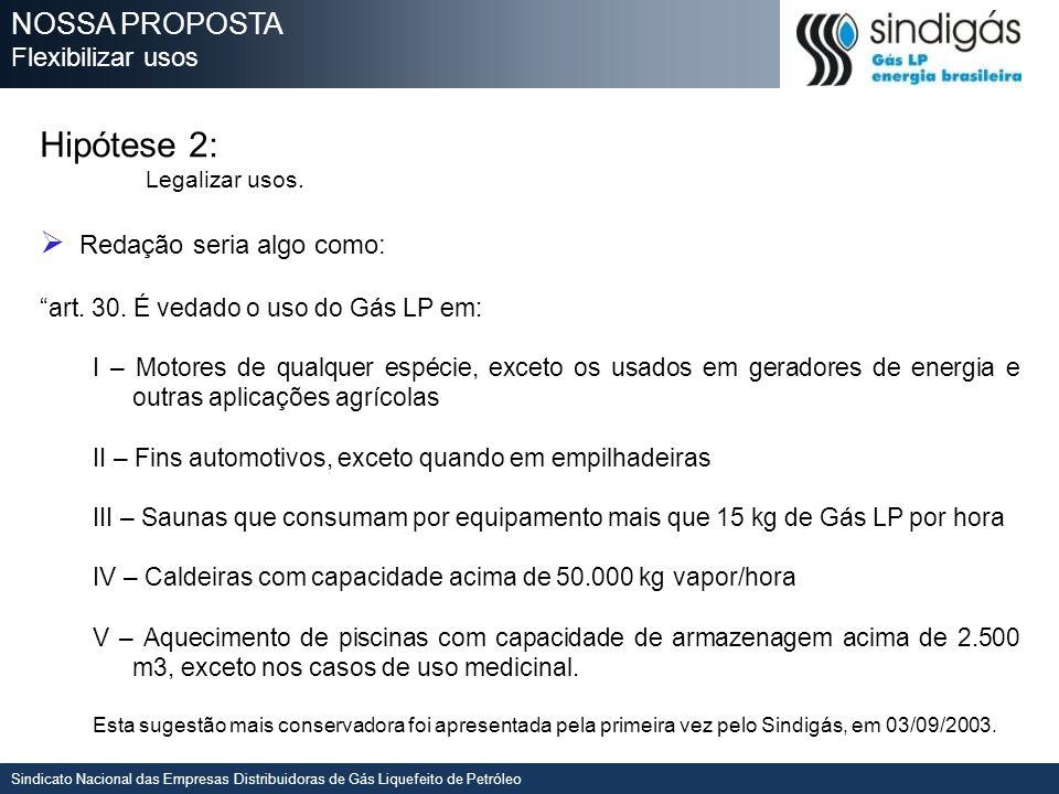 Hipótese 2: NOSSA PROPOSTA Flexibilizar usos Redação seria algo como: