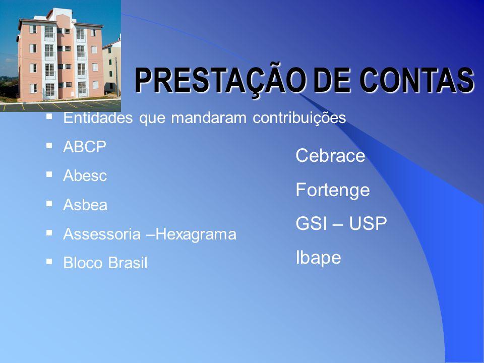 PRESTAÇÃO DE CONTAS Cebrace Fortenge GSI – USP Ibape