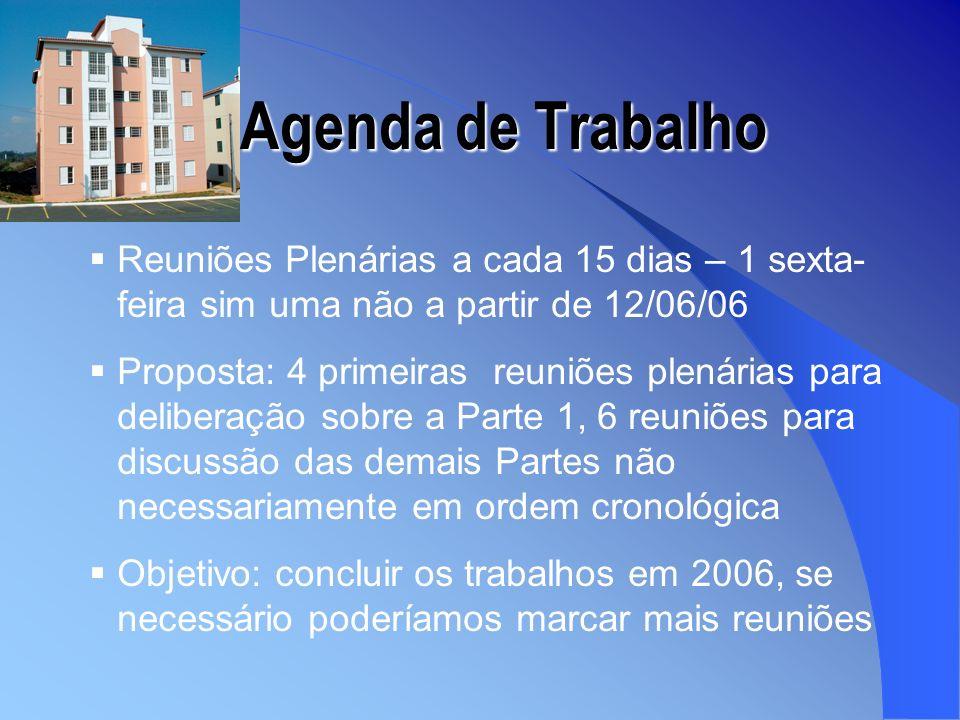Agenda de Trabalho Reuniões Plenárias a cada 15 dias – 1 sexta-feira sim uma não a partir de 12/06/06.