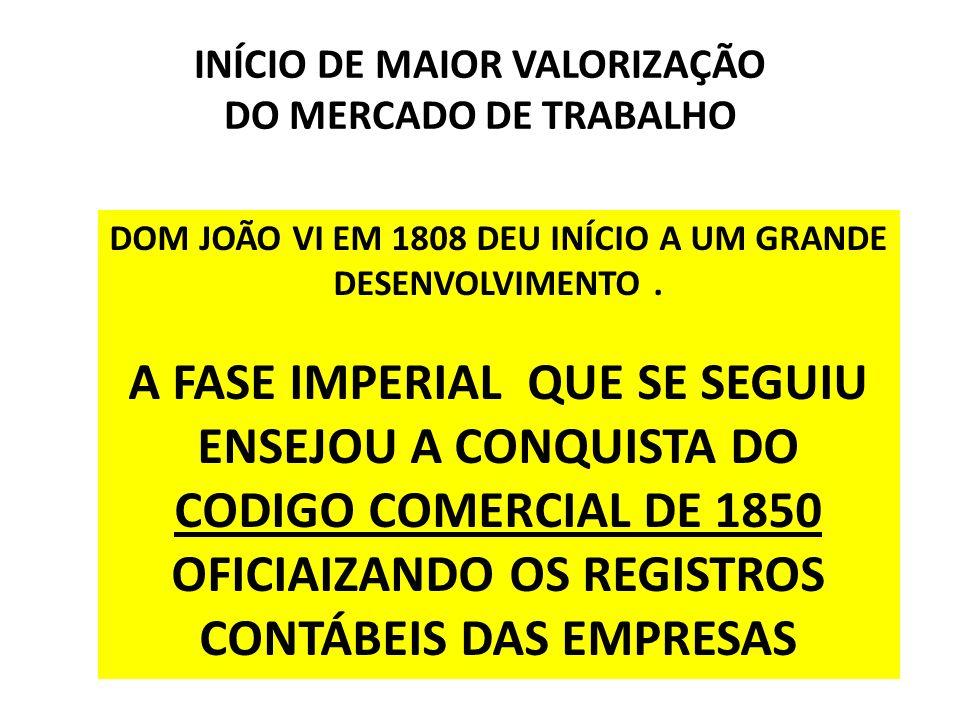 INÍCIO DE MAIOR VALORIZAÇÃO DO MERCADO DE TRABALHO