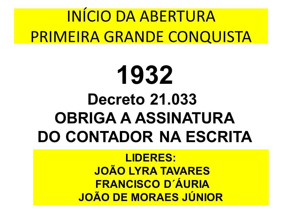 INÍCIO DA ABERTURA PRIMEIRA GRANDE CONQUISTA