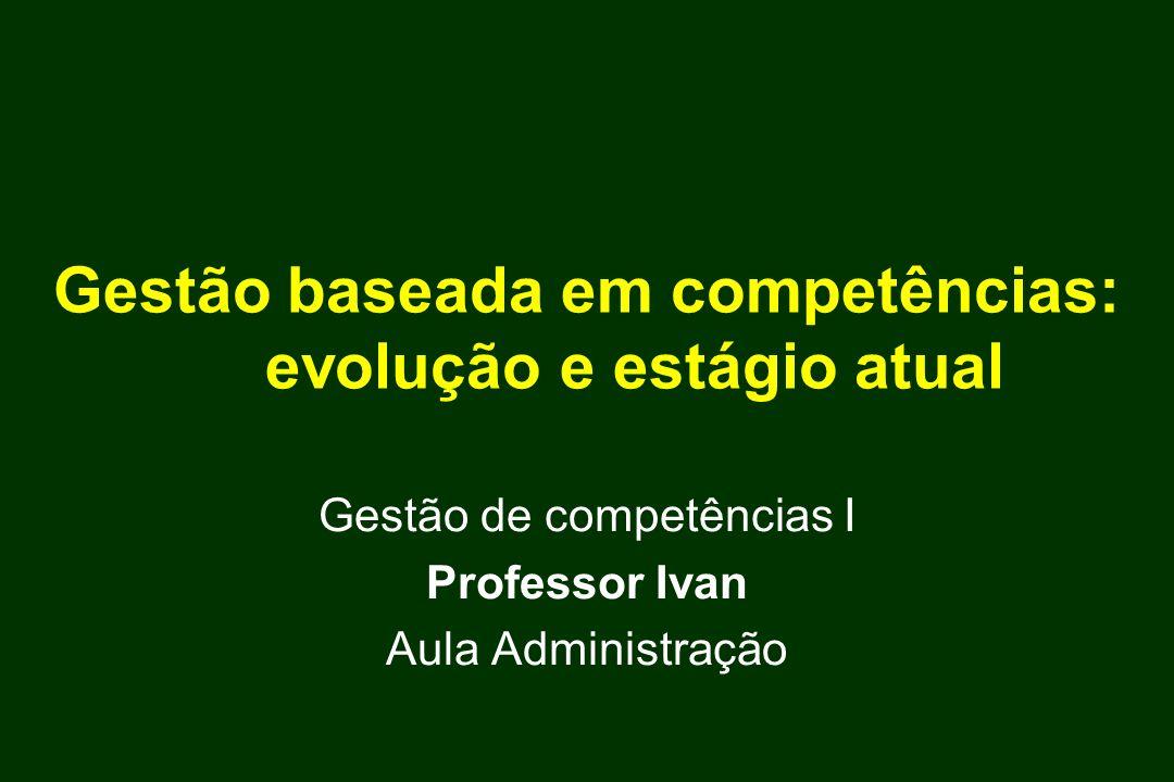 Gestão baseada em competências: evolução e estágio atual