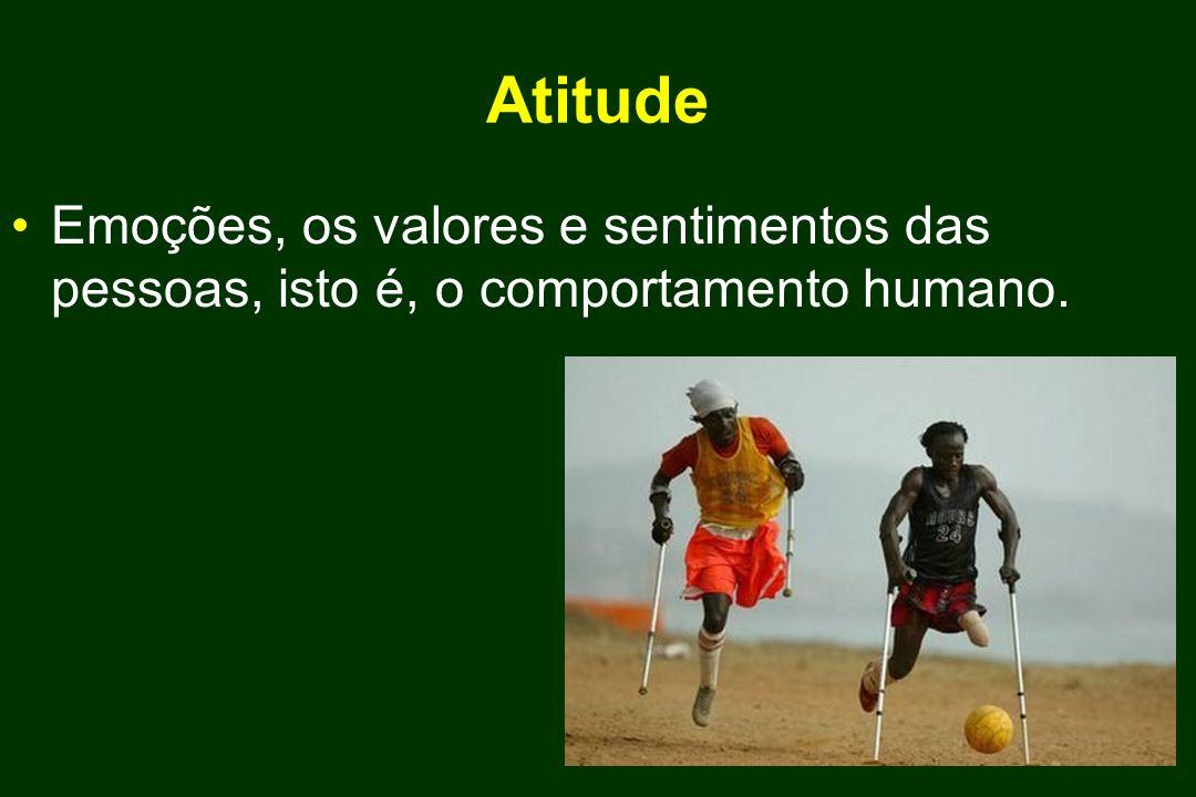 Atitude Emoções, os valores e sentimentos das pessoas, isto é, o comportamento humano.