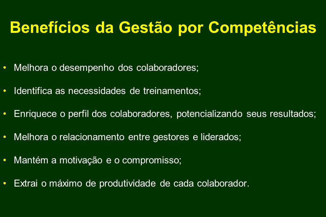 Benefícios da Gestão por Competências