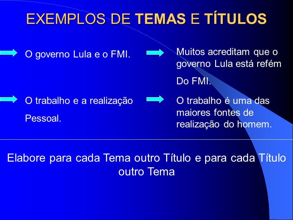 EXEMPLOS DE TEMAS E TÍTULOS