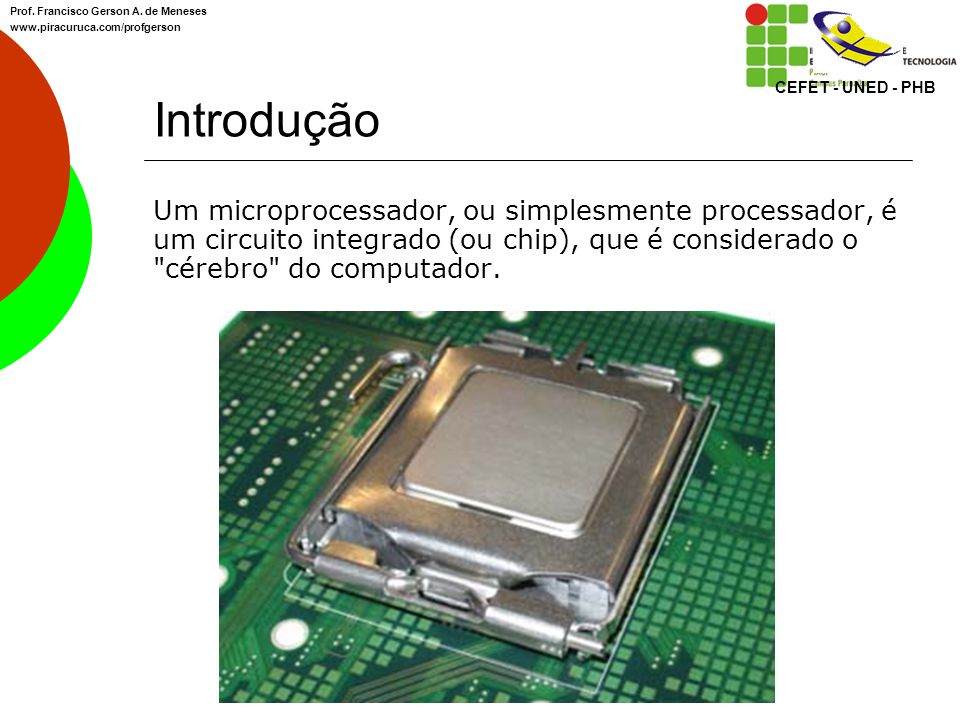 CEFET - UNED - PHB Prof. Francisco Gerson A. de Meneses. www.piracuruca.com/profgerson. Introdução.