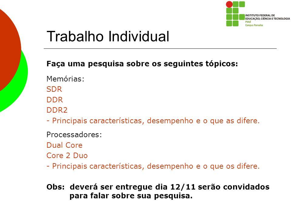 Trabalho Individual Faça uma pesquisa sobre os seguintes tópicos: