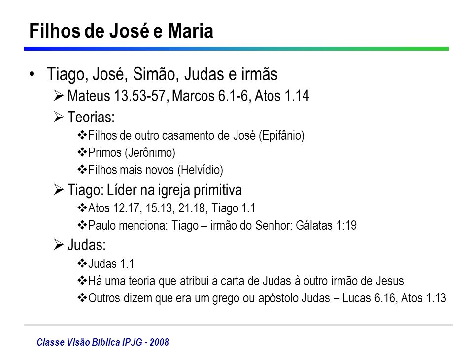 Filhos de José e Maria Tiago, José, Simão, Judas e irmãs