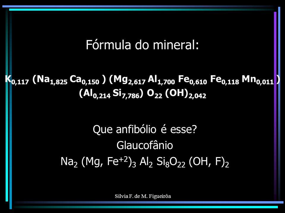 Que anfibólio é esse Glaucofânio Na2 (Mg, Fe+2)3 Al2 Si8O22 (OH, F)2