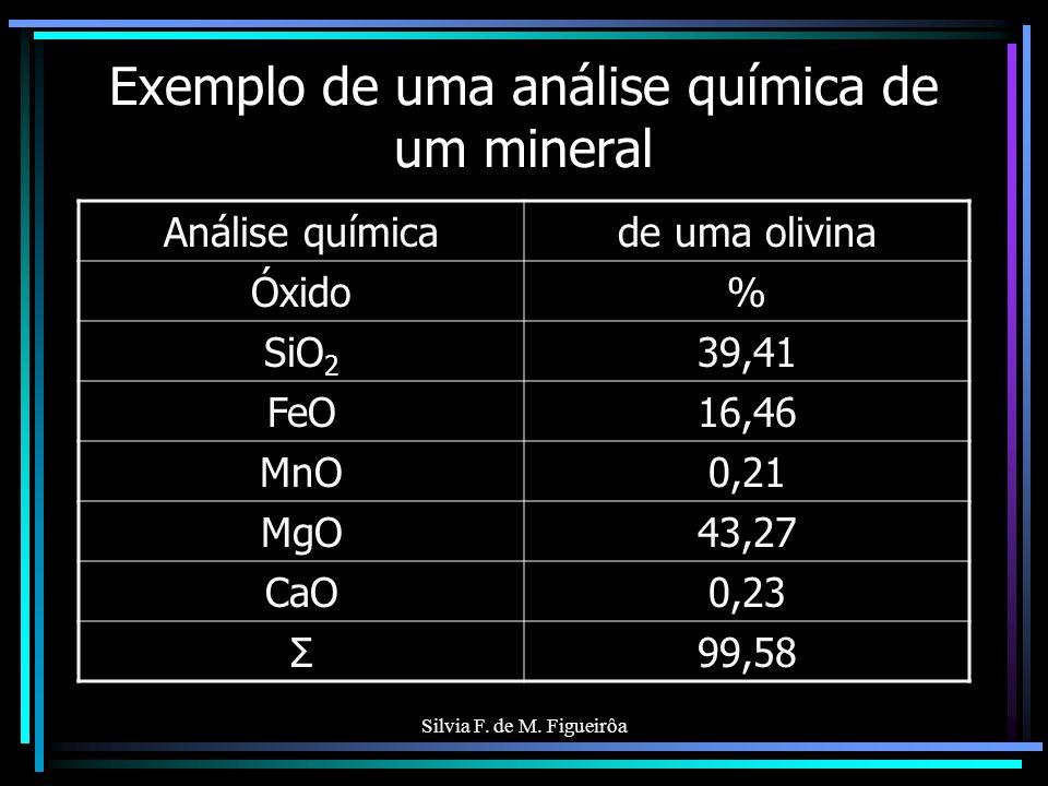 Exemplo de uma análise química de um mineral
