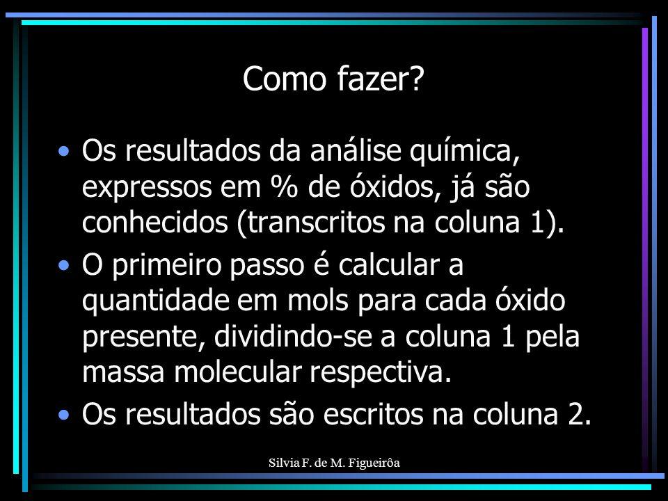 Como fazer Os resultados da análise química, expressos em % de óxidos, já são conhecidos (transcritos na coluna 1).