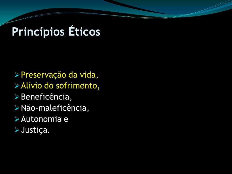 Princípios Éticos Preservação da vida, Alívio do sofrimento,