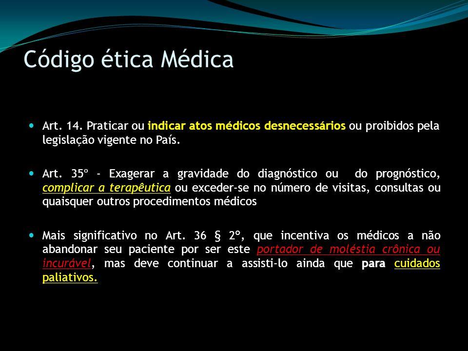 Código ética Médica Art. 14. Praticar ou indicar atos médicos desnecessários ou proibidos pela legislação vigente no País.
