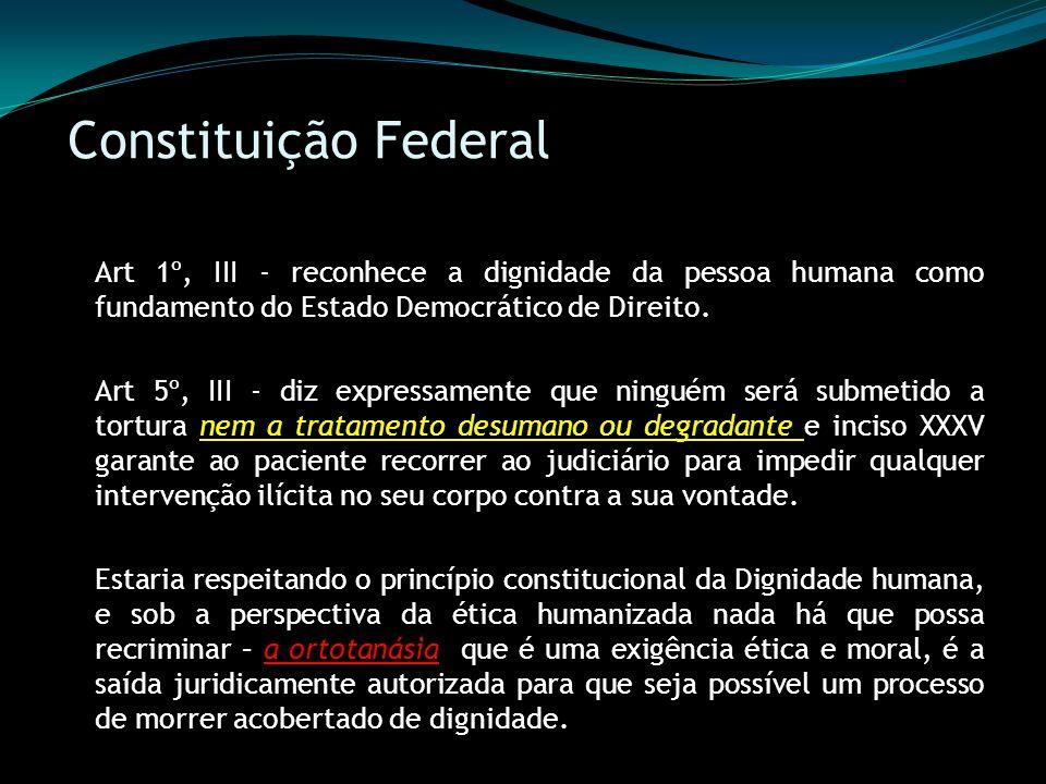 Constituição Federal Art 1º, III - reconhece a dignidade da pessoa humana como fundamento do Estado Democrático de Direito.