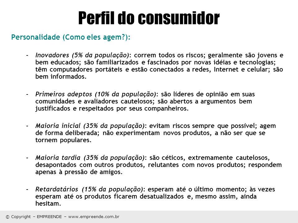 Perfil do consumidor Personalidade (Como eles agem ):