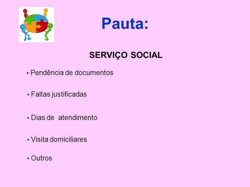 Pauta: SERVIÇO SOCIAL Pendência de documentos Faltas justificadas