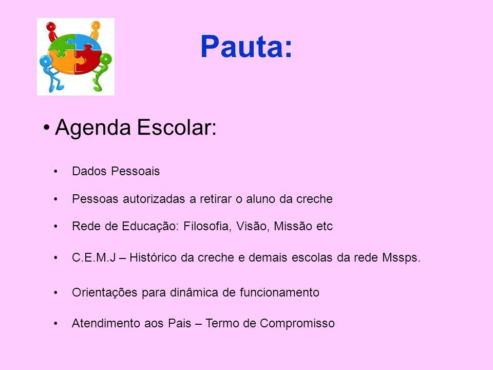 Pauta: Agenda Escolar: Dados Pessoais