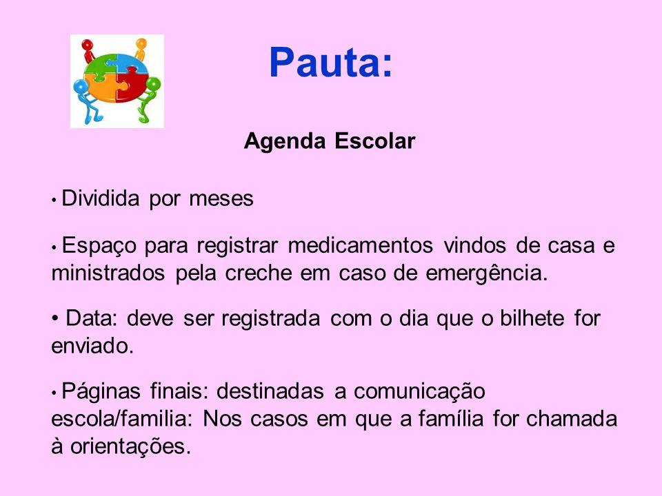 Pauta:Agenda Escolar. Dividida por meses. Espaço para registrar medicamentos vindos de casa e ministrados pela creche em caso de emergência.