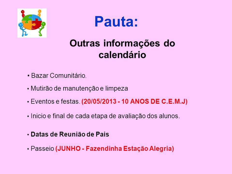 Outras informações do calendário