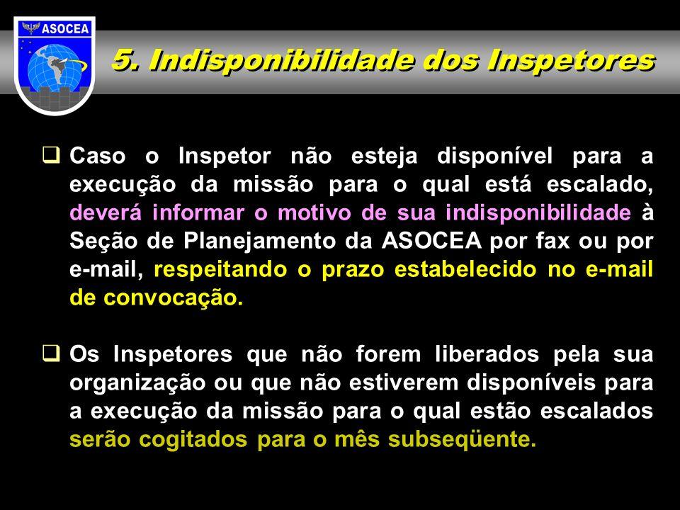 5. Indisponibilidade dos Inspetores