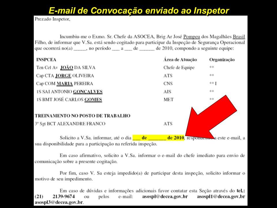 E-mail de Convocação enviado ao Inspetor