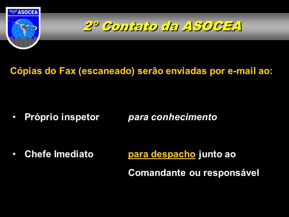 2º Contato da ASOCEA Cópias do Fax (escaneado) serão enviadas por e-mail ao: Próprio inspetor para conhecimento.
