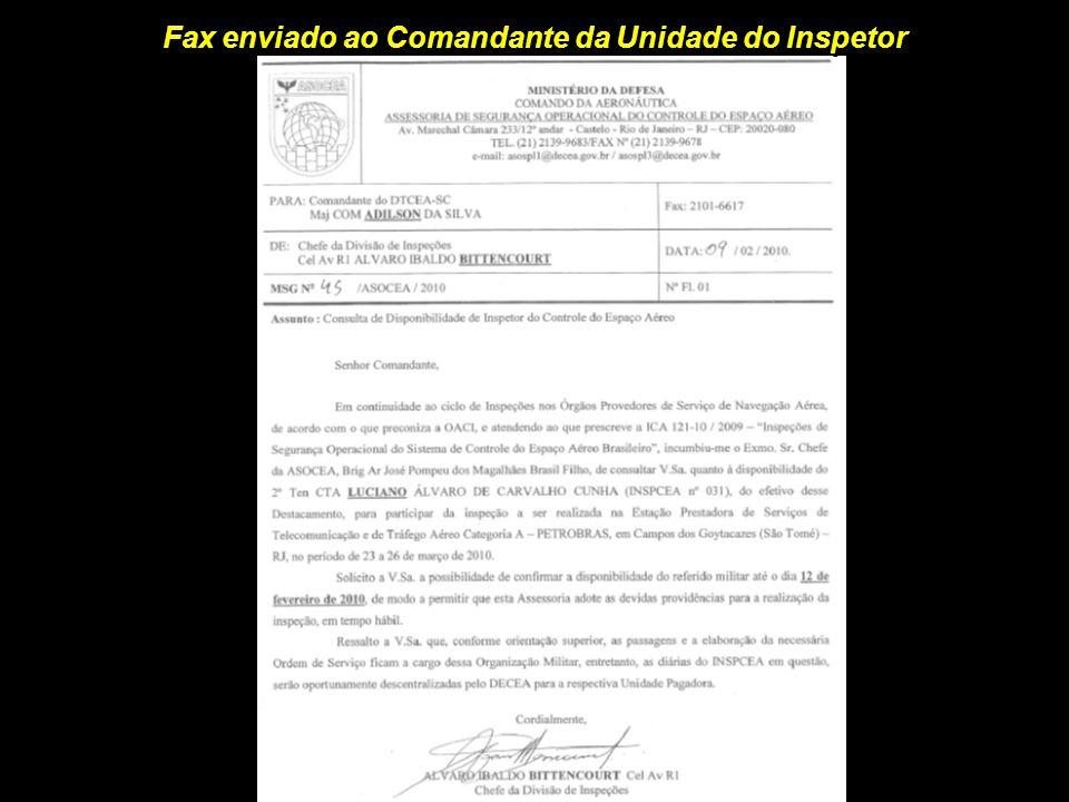 Fax enviado ao Comandante da Unidade do Inspetor