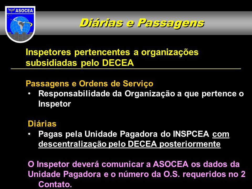 Diárias e Passagens Inspetores pertencentes a organizações