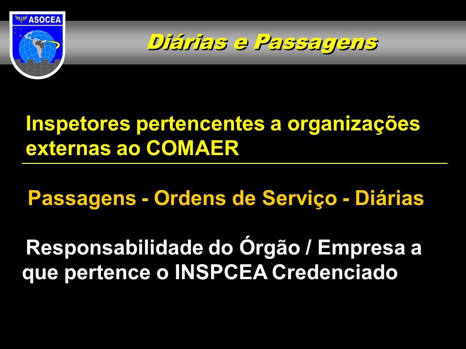 Diárias e Passagens Inspetores pertencentes a organizações. externas ao COMAER. Passagens - Ordens de Serviço - Diárias.