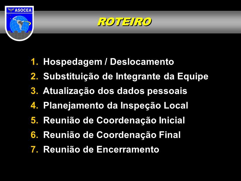 ROTEIRO Hospedagem / Deslocamento Substituição de Integrante da Equipe