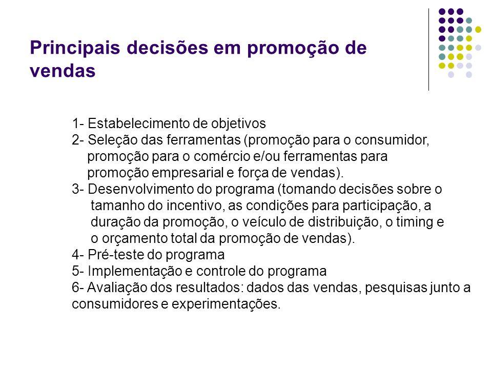 Principais decisões em promoção de vendas