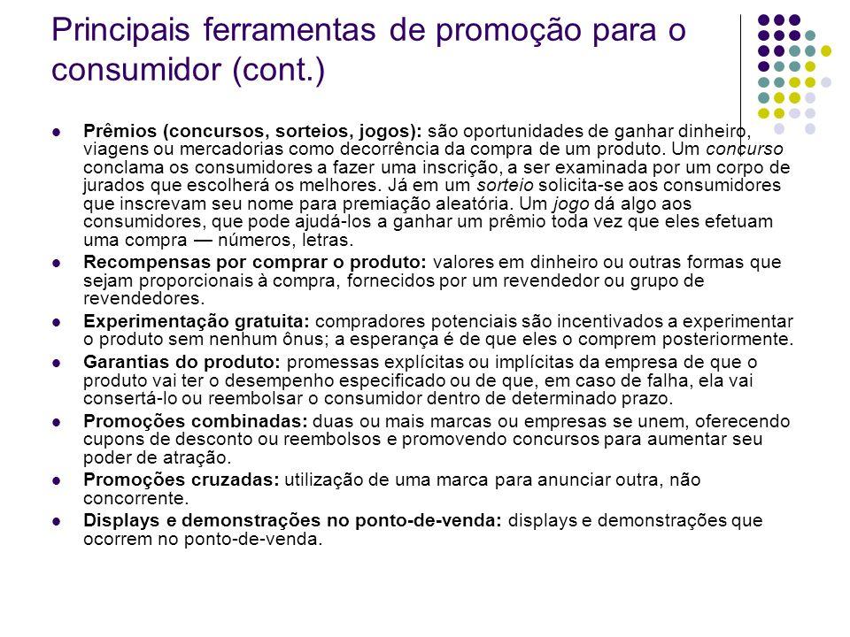 Principais ferramentas de promoção para o consumidor (cont.)