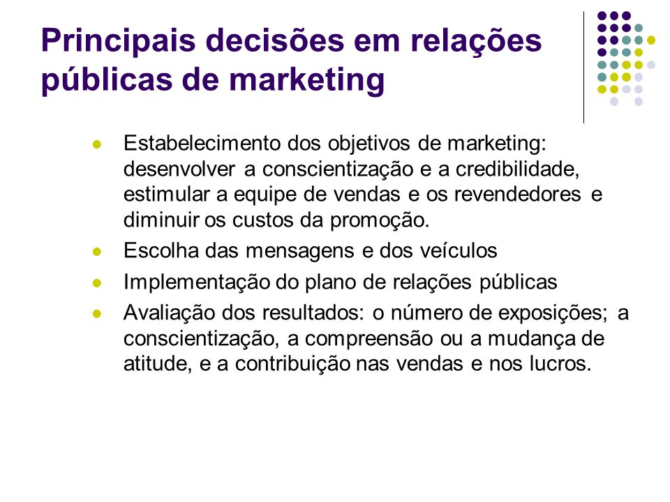 Principais decisões em relações públicas de marketing