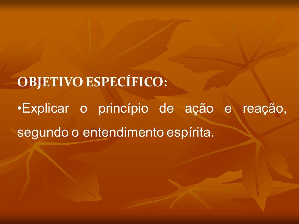OBJETIVO ESPECÍFICO: Explicar o princípio de ação e reação, segundo o entendimento espírita.