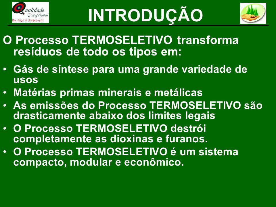 INTRODUÇÃOO Processo TERMOSELETIVO transforma resíduos de todo os tipos em: Gás de síntese para uma grande variedade de usos.