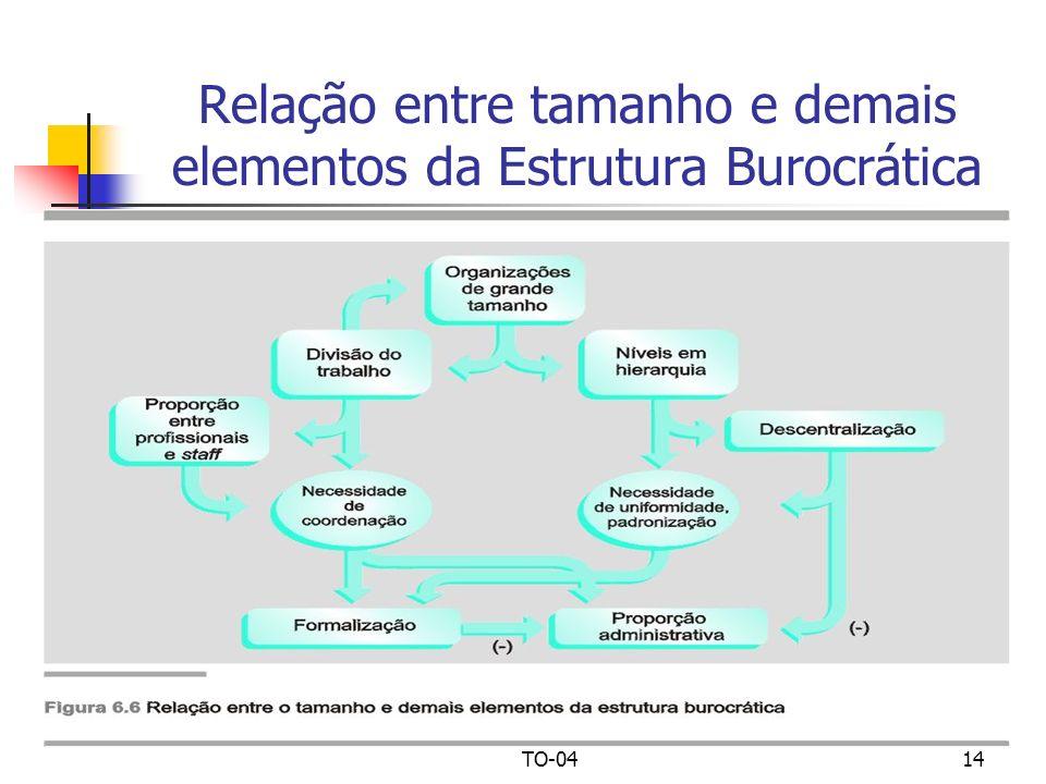 Relação entre tamanho e demais elementos da Estrutura Burocrática