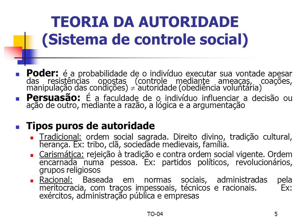 TEORIA DA AUTORIDADE (Sistema de controle social)