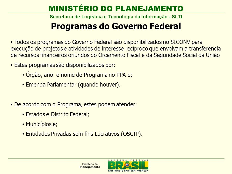 Programas do Governo Federal