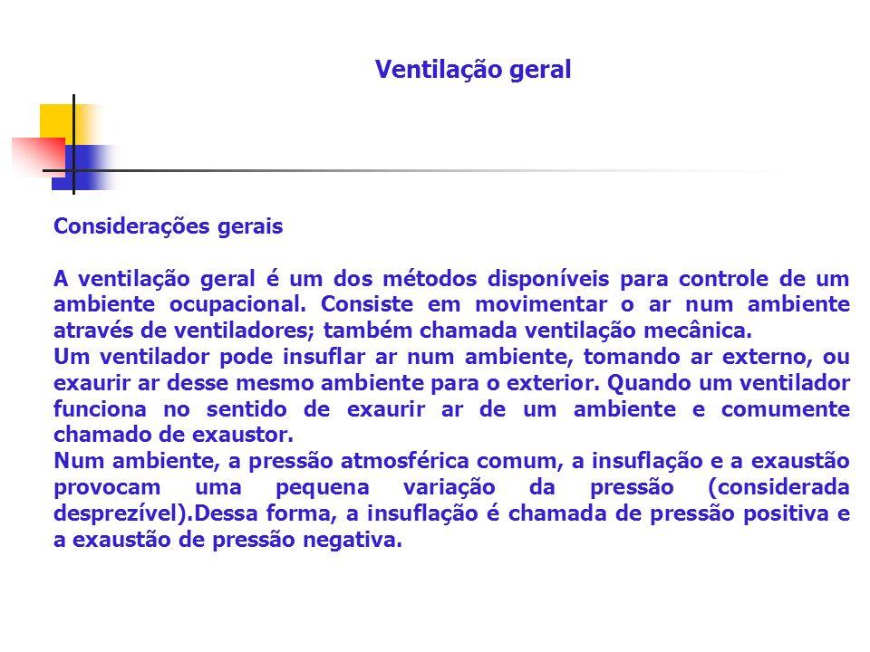 Ventilação geral Considerações gerais.