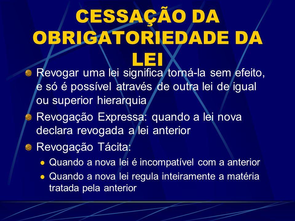 CESSAÇÃO DA OBRIGATORIEDADE DA LEI