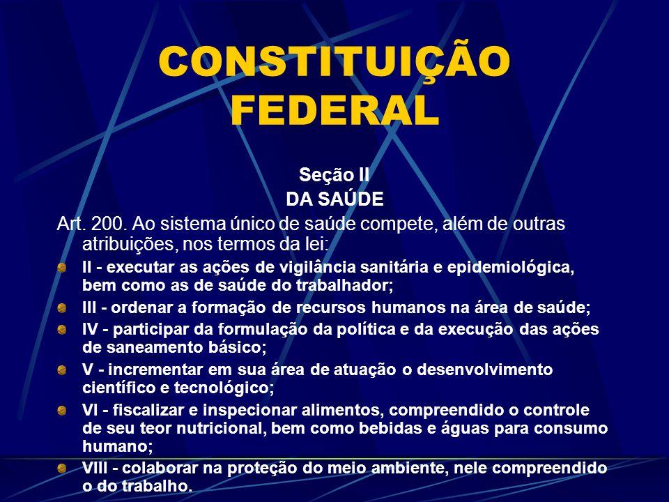 CONSTITUIÇÃO FEDERAL Seção II DA SAÚDE