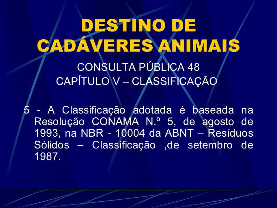 DESTINO DE CADÁVERES ANIMAIS