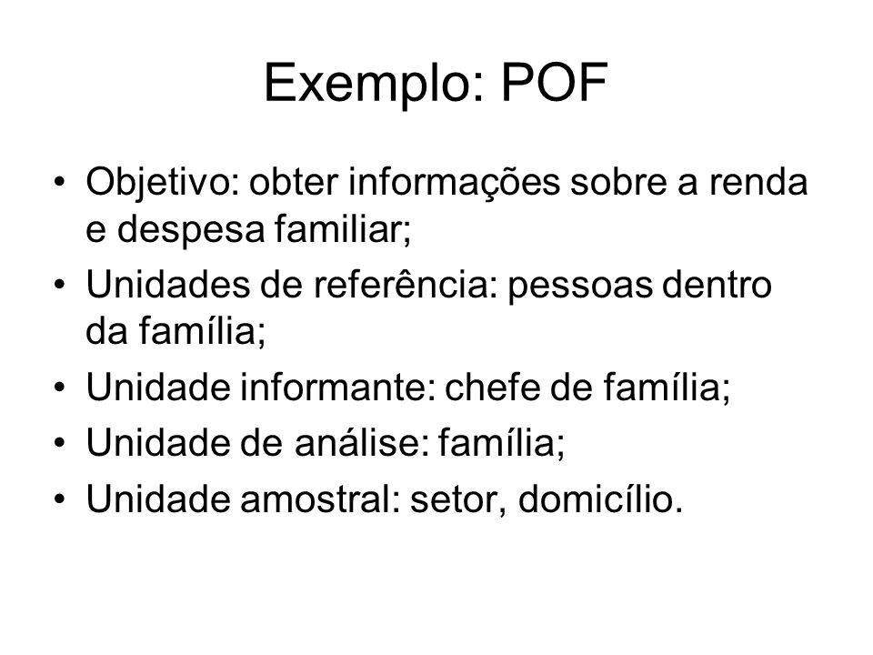 Exemplo: POFObjetivo: obter informações sobre a renda e despesa familiar; Unidades de referência: pessoas dentro da família;