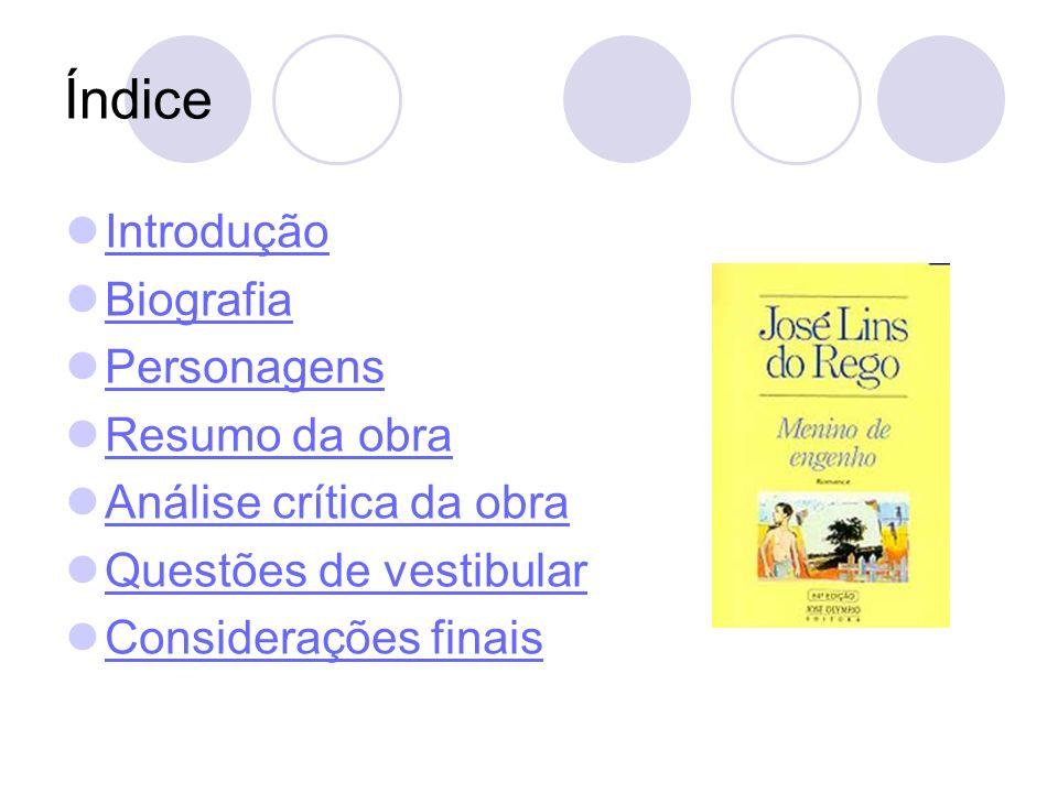 Índice Introdução Biografia Personagens Resumo da obra