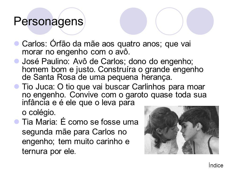 Personagens Carlos: Órfão da mãe aos quatro anos; que vai morar no engenho com o avô.