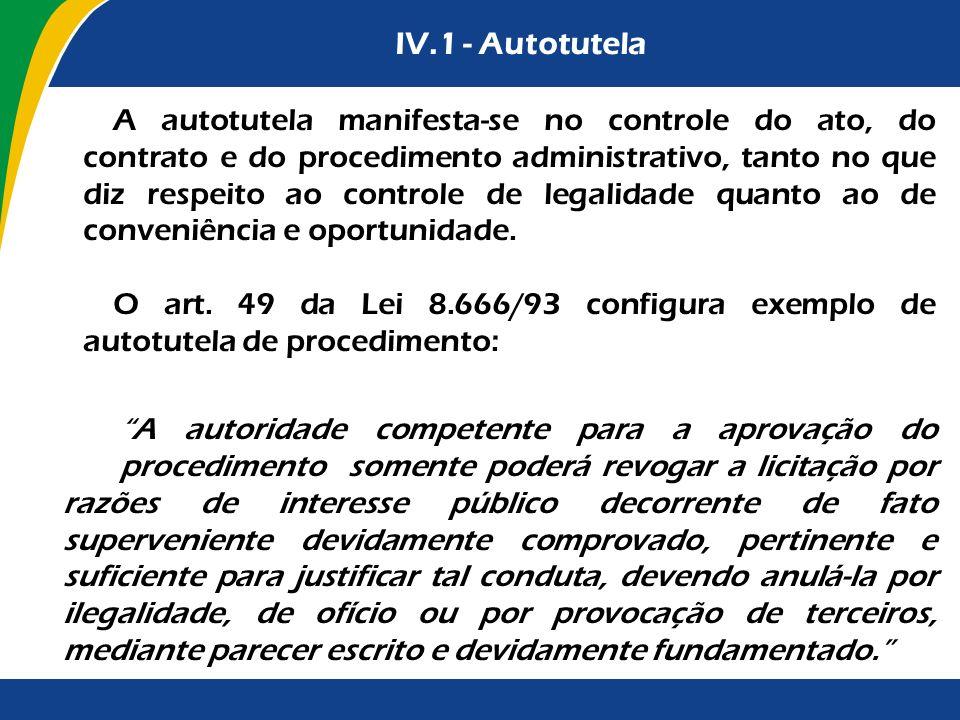 IV.1 - Autotutela